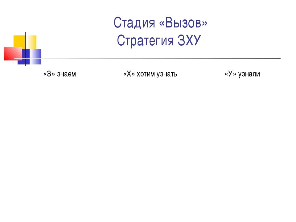 Стадия «Вызов» Стратегия ЗХУ «З» знаем«Х» хотим узнать«У» узнали