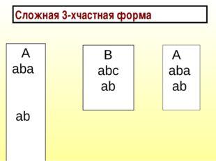 Сложная 3-хчастная форма А aba ab В abс ab А aba ab