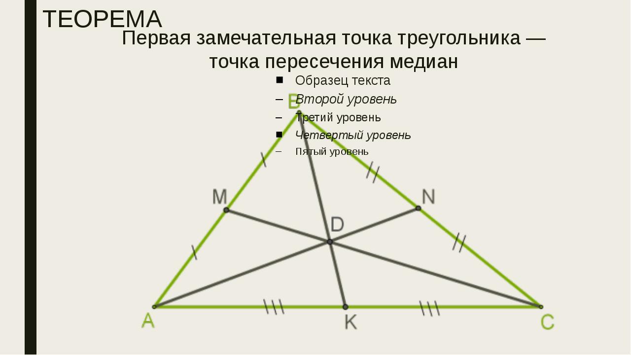Первая замечательная точка треугольника — точка пересечения медиан ТЕОРЕМА