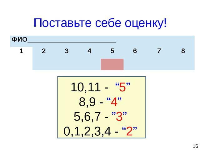 """16 Поставьте себе оценку! 10,11 - """"5"""" 8,9 - """"4"""" 5,6,7 - """"3"""" 0,1,2,3,4 - """"2""""..."""