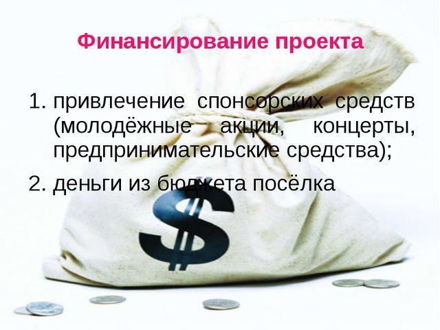 Финансирование проекта привлечение спонсорских средств (молодёжные акции, кон...