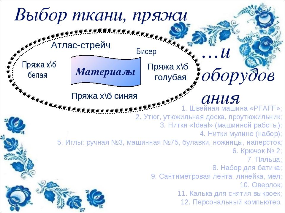 Выбор ткани, пряжи Материалы Бисер Пряжа х\б синяя …и оборудования 1. Швейная...