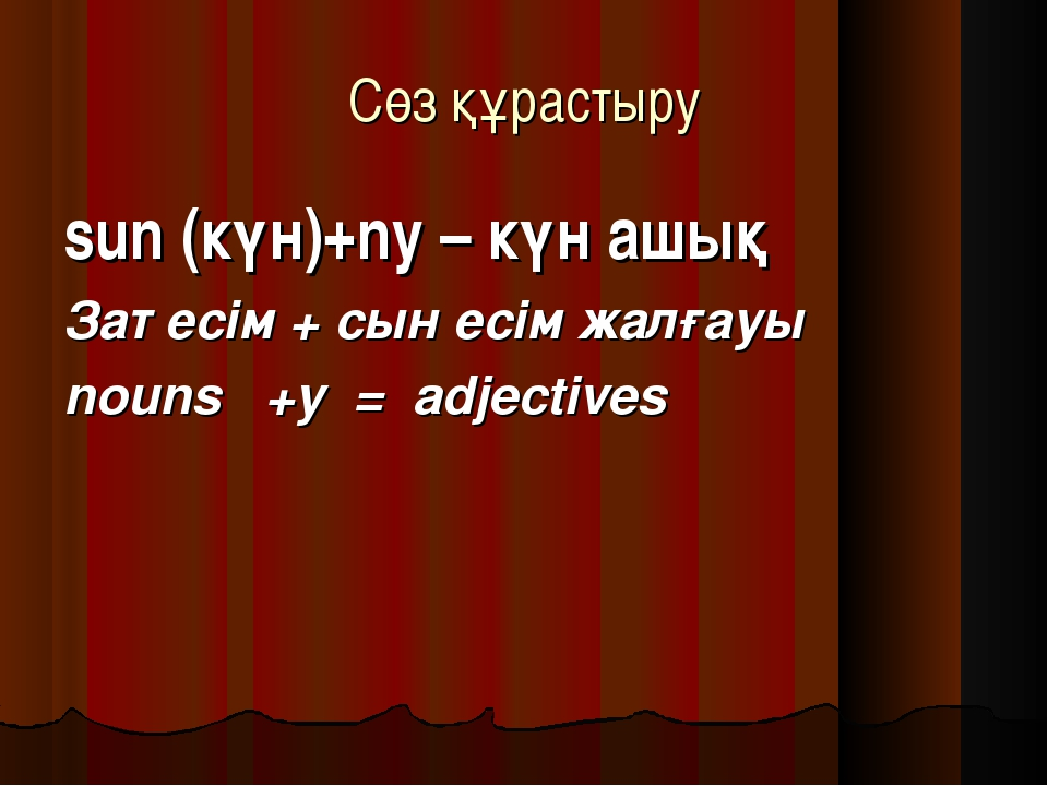 Сөз құрастыру sun (күн)+ny – күн ашық Зат есім + сын есім жалғауы nouns +y =...