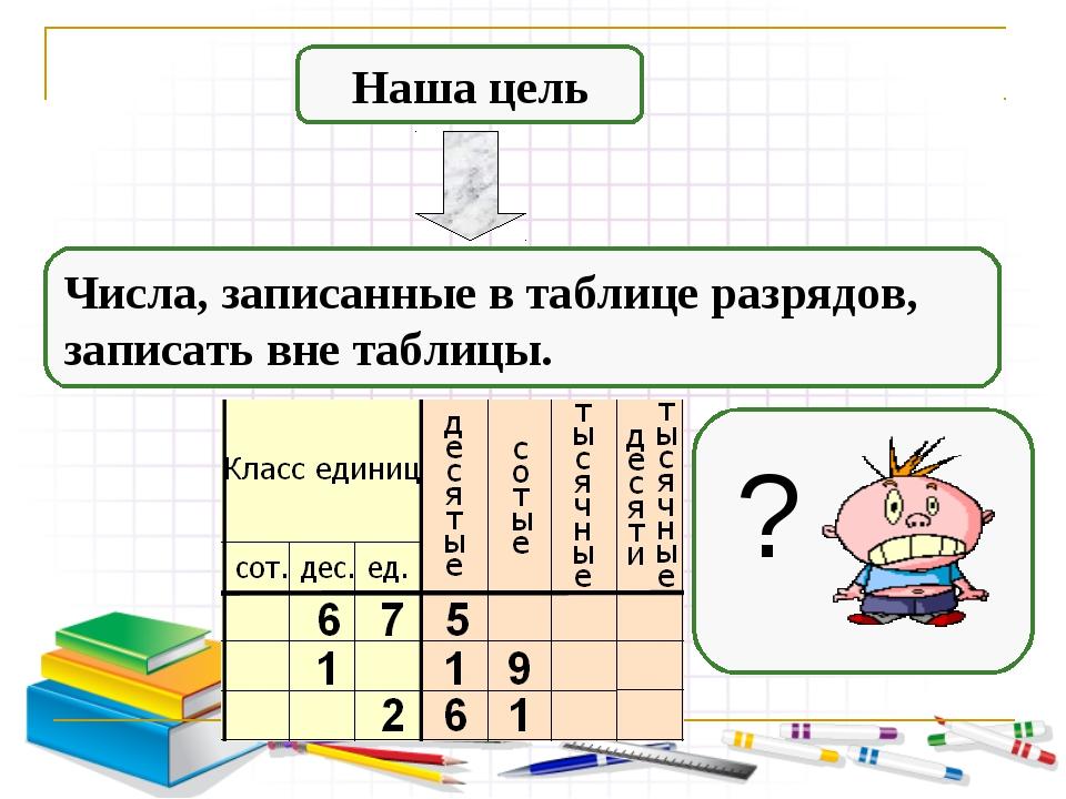 Наша цель Числа, записанные в таблице разрядов, записать вне таблицы. ?