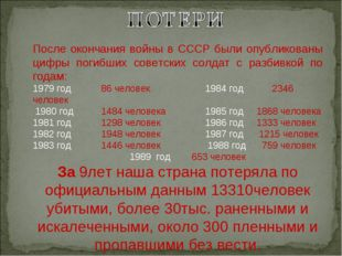 После окончания войны в СССР были опубликованы цифры погибших советских солд