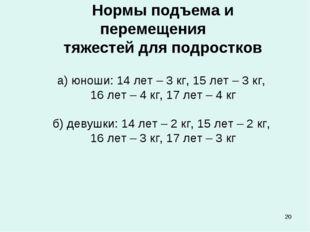 * Нормы подъема и перемещения тяжестей для подростков а) юноши: 14 лет – 3 кг