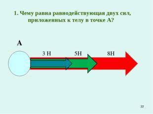 *  1. Чему равна равнодействующая двух сил, приложенных к телу в точке А? А