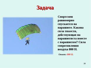 * Задача Спортсмен равномерно спускается на парашюте. Какова сила тяжести, де