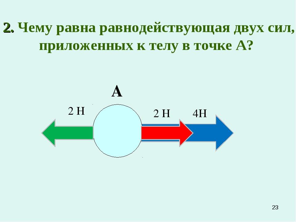 *  2. Чему равна равнодействующая двух сил, приложенных к телу в точке А? А