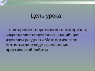 Цель урока: повторение теоретического материала, закрепление полученных знан