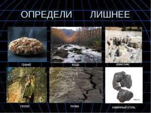 ОПРЕДЕЛИ ЛИШНЕЕ каменный уголь гранит вода геолог почва известняк