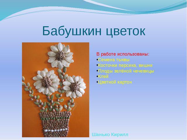 Бабушкин цветок В работе использованы: Семена тыквы Косточки персика, вишни П...