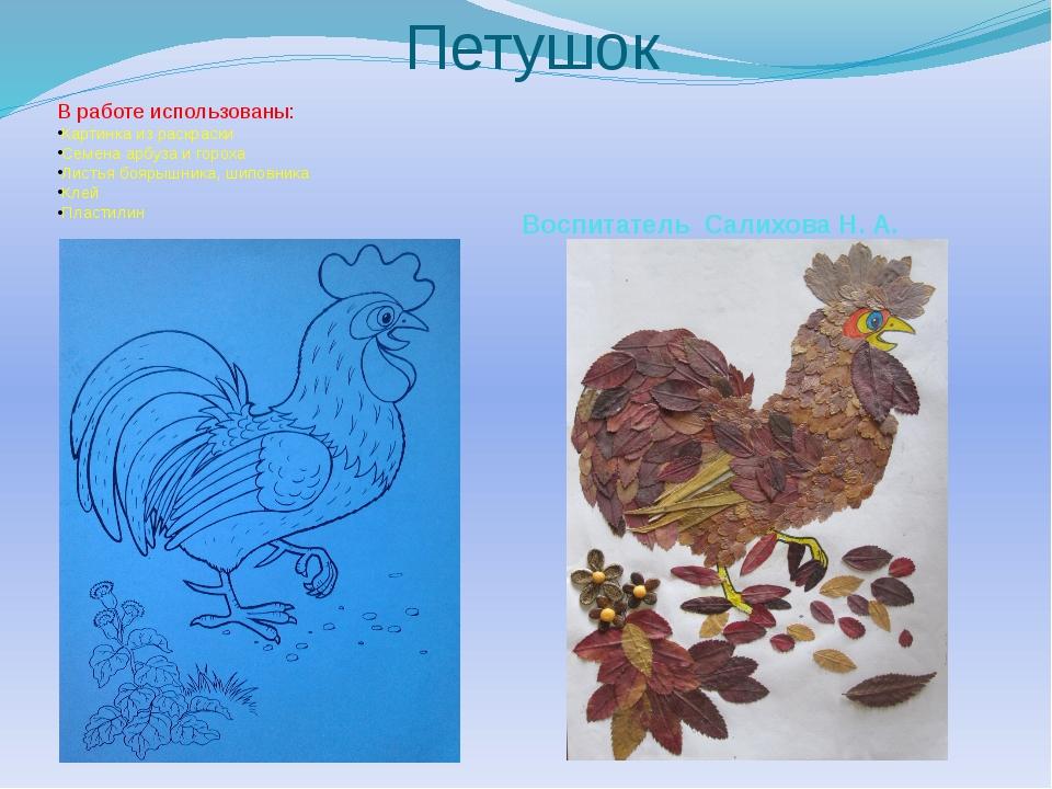 Петушок В работе использованы: Картинка из раскраски Семена арбуза и гороха Л...