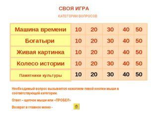 50 40 30 20 10 Памятники культуры 50 40 30 20 10 Колесо истории 50 40 30 20 1