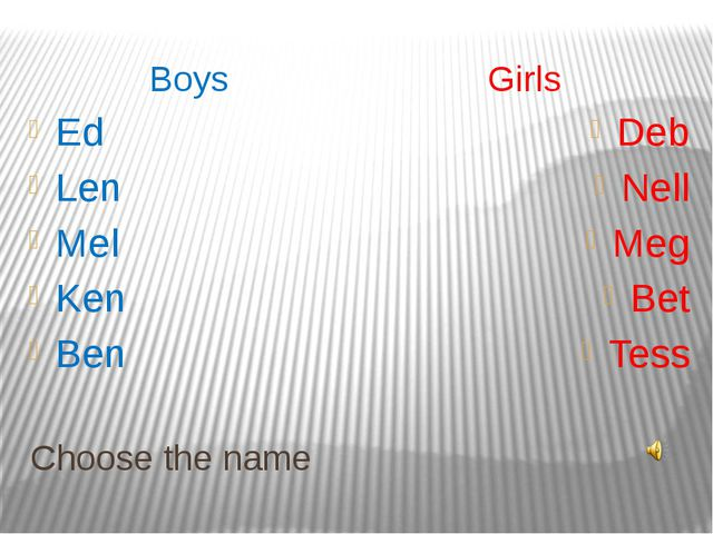 Choose the name Boys Girls Ed Len Mel Ken Ben Deb Nell Meg Bet Tess