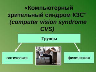 """«Компьютерный зрительный синдром КЗС"""" (computer vision syndrome CVS) оптичес"""