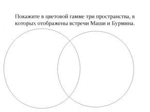 Покажите в цветовой гамме три пространства, в которых отображены встречи Маши