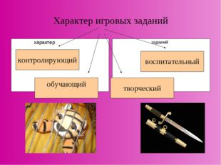 Характер игровых заданий характер заданий контролирующий обучающий творческий