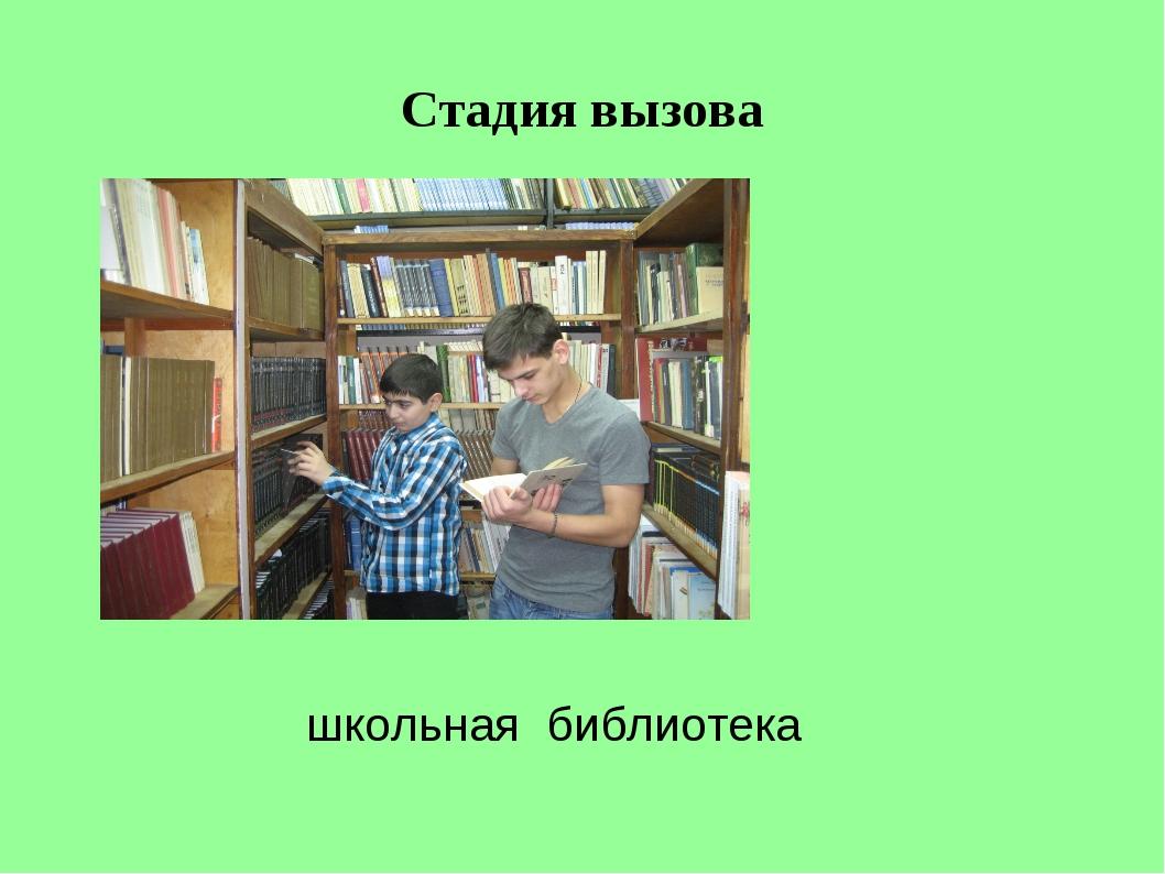 Стадия вызова школьная библиотека