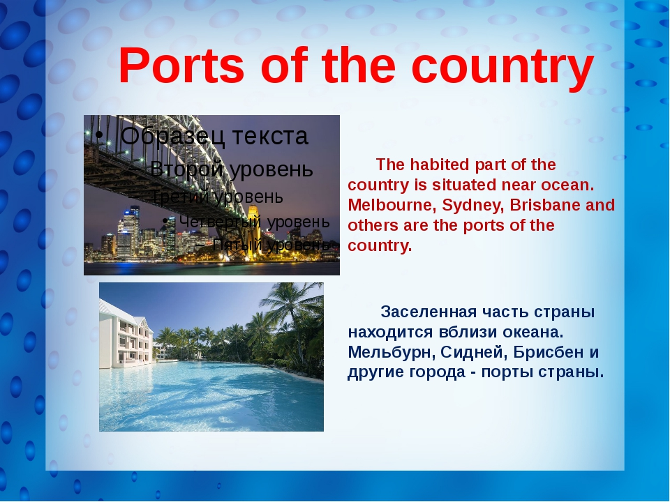 Ports of the country The habited part of the country is situated near ocean....