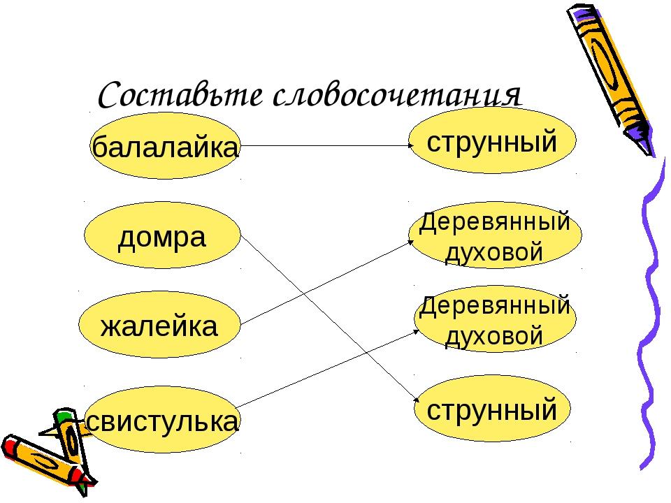 Составьте словосочетания балалайка домра жалейка Деревянный духовой струнный...