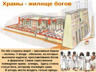 . Египетский храм в разрезе По обе стороны ворот – массивные башни – пилоны.