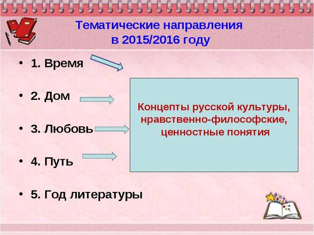Тематические направления в 2015/2016 году 1. Время 2. Дом 3. Любовь 4. Путь...