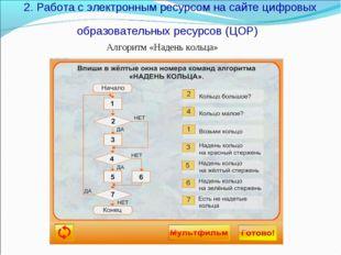 2. Работа с электронным ресурсом на сайте цифровых образовательных ресурсов (