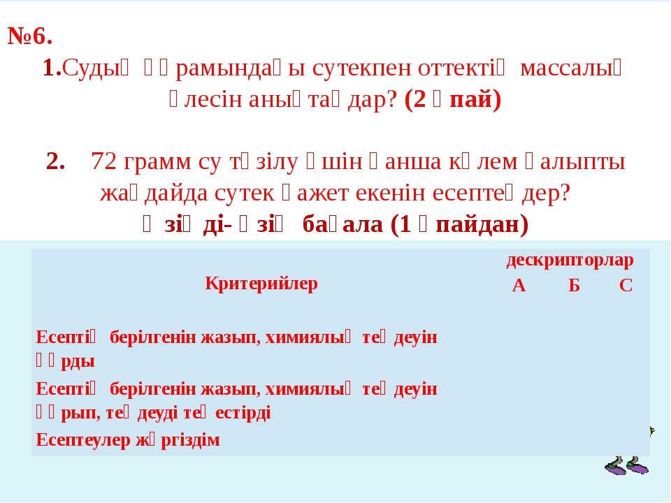№6. 1.Судың құрамындағы сутекпен оттектің массалық үлесін анықтаңдар? (2 ұпа...