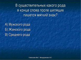 Гимназия №1 Мещерякова И.Г. В существительных какого рода в конце слова после