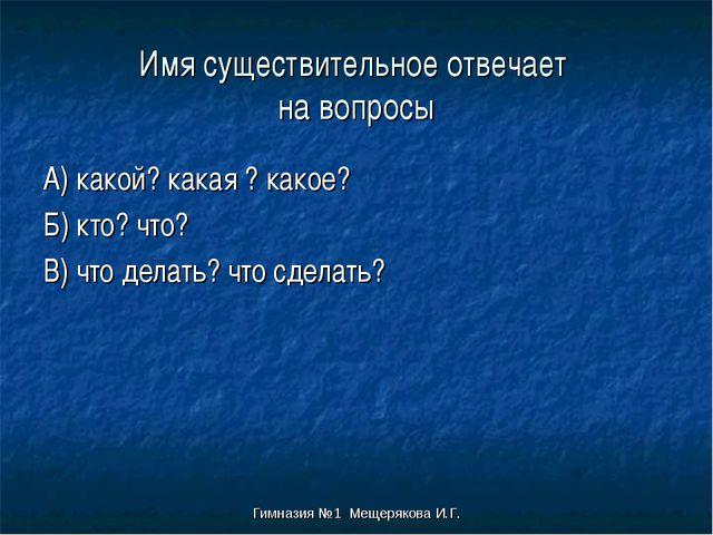 Гимназия №1 Мещерякова И.Г. Имя существительное отвечает на вопросы А) какой?...