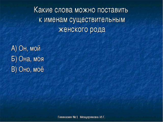 Гимназия №1 Мещерякова И.Г. Какие слова можно поставить к именам существитель...