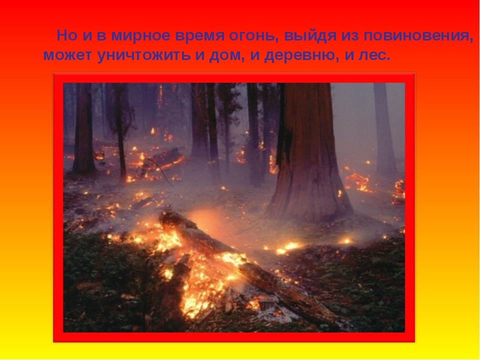 Но и в мирное время огонь, выйдя из повиновения, может уничтожить и дом, и д...