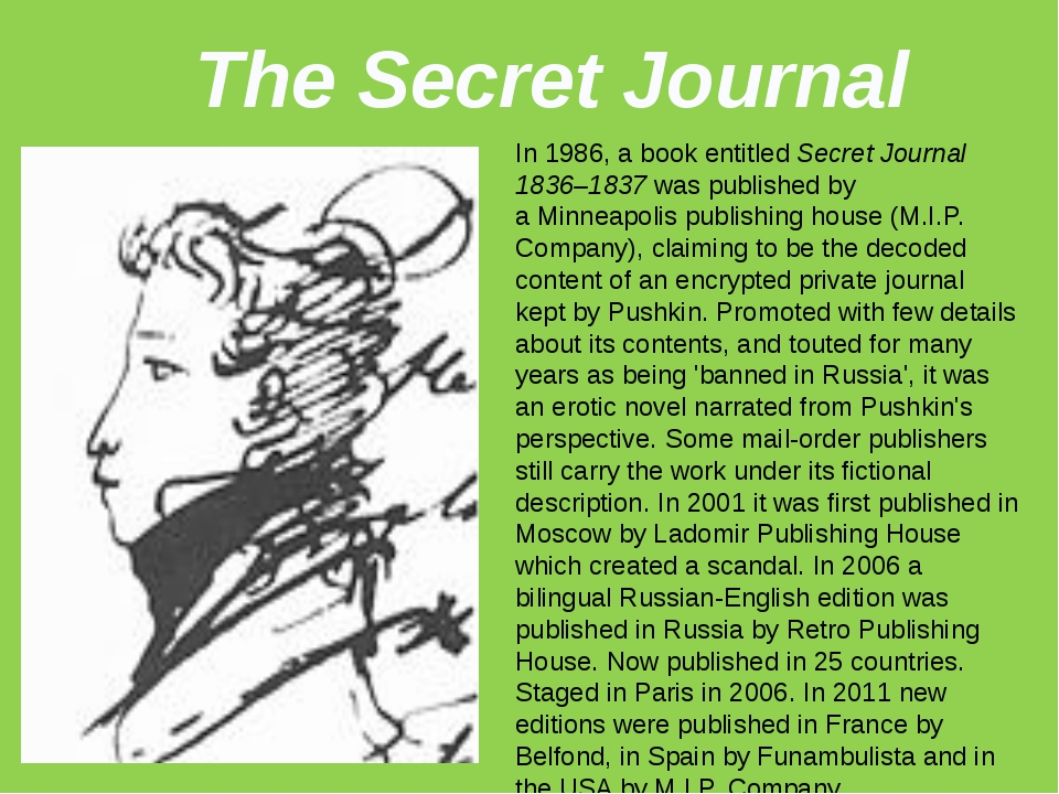 The Secret Journal In 1986, a book entitled Secret Journal 1836–1837 was publ...