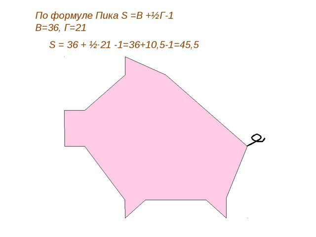 По формуле Пика S =В +½Г-1 В=36, Г=21 S = 36 + ½·21 -1=36+10,5-1=45,5