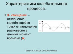 Характеристики колебательного процесса: 1.X- смещение –отклонение колеблющейс
