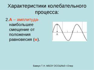 Характеристики колебательного процесса: 2.A – амплитуда- наибольшее смещение