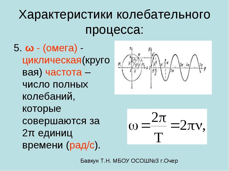 Характеристики колебательного процесса: 5. ω - (омега) - циклическая(круговая...