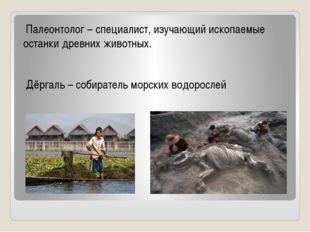 Палеонтолог – специалист, изучающий ископаемые останки древних животных. Дёр