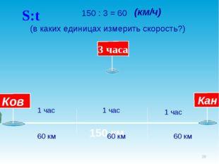 * 150 км 150 : 3 = 60 (в каких единицах измерить скорость?) 1 час 1 час 1 час