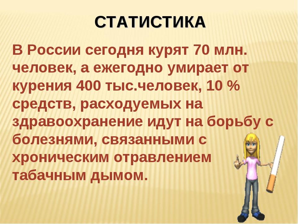 СТАТИСТИКА В России сегодня курят 70 млн. человек, а ежегодно умирает от куре...