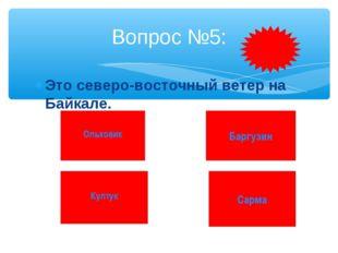 Это северо-восточный ветер на Байкале. Вопрос №5: Ольховик Култук Баргузин Са