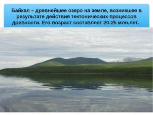 Байкал – древнейшее озеро на земле, возникшее в результате действия тектониче