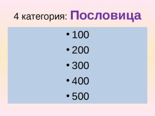 4 категория: Пословица 100 200 300 400 500