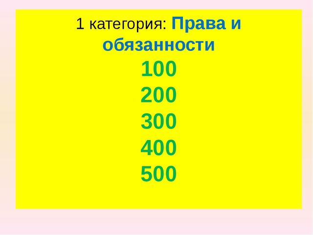 1 категория: Права и обязанности 100 200 300 400 500