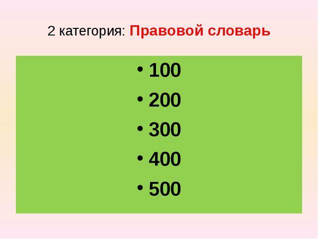 2 категория: Правовой словарь 100 200 300 400 500