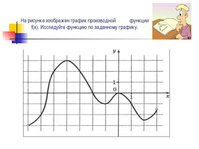 На рисунке изображен график производной функции f(x). Исследуйте функцию по з...