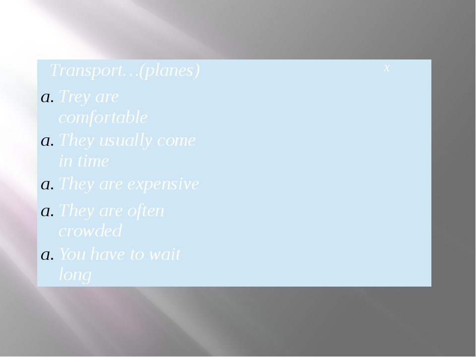 Transport…(planes) ۷ x Trey are comfortable ۷ They usually come in time They...