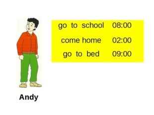 Andy go to school 08:00 come home 02:00 go to bed 09:00