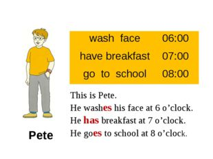 This is Pete. He washes his face at 6 o'clock. He has breakfast at 7 o'clock.